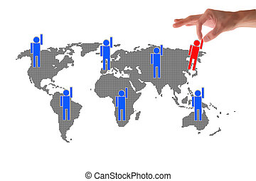 hand point to social network connection on world map - hand...