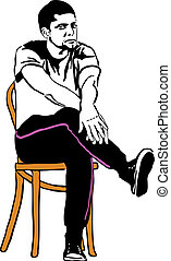 guy in sneakers sitting on a wooden chair