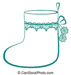 Christmas stocking for gifts decorated, monochrome openwork...