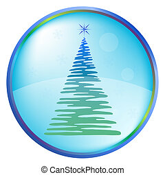 Christmas tree buttons - Icon, blue button with a Christmas...