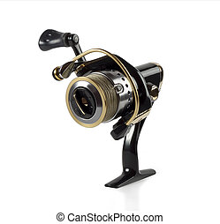 Fishing reel with a string of isolated on white
