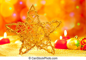 Christmas golden star candles and baubles - Christmas golden...