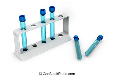 test tubes - five empty test tubes with a blue cap 3d render...