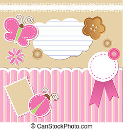 set of scrapbook elements on beige background