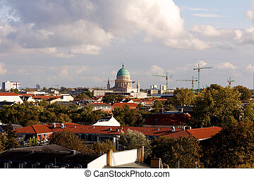 View of Potsdam, Germany, with the Garnisionskirche...