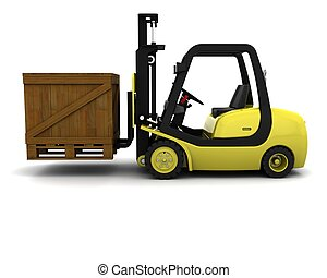 Yellow Fork Lift Truck on White - 3D Render of Yellow Fork...