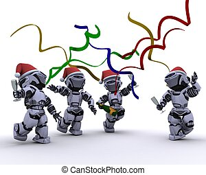Robots celebrating at a christmas party - 3D render of a...