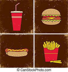 Four illustrations fast food - Illustrations cola, a...