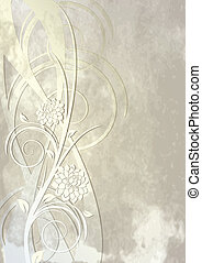 Flowers and swirls - Vintage template for greeting card or...