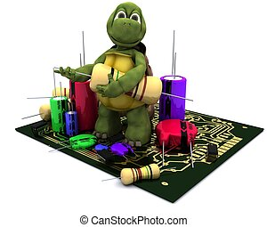 tortoise with a micro chip - 3D render of a tortoise with a...