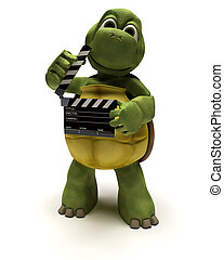 tortoise with a clapper board - 3D render of a tortoise with...