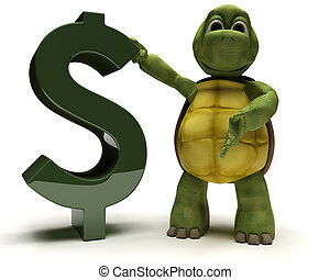 tortoise with a dollar sign