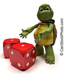 Tortoise with dice - 3D Render of a Tortoise with dice