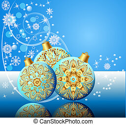 background with festive ball and snowflake with reflection -...