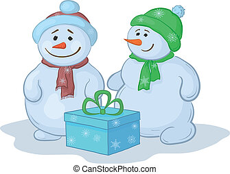 Snowmens with gift box
