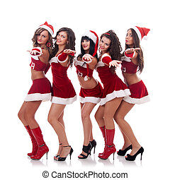 inviting santa women - group of santa women inviting you to...