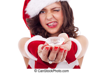 santa woman with a big diamond - beautiful woman wearing...