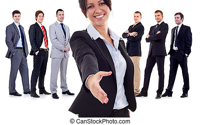 business woman welcoming to her team - business woman...
