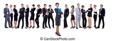 business woman student leading a team - isolated over a...