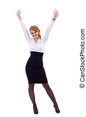 Happy business woman - Happy caucasian business woman with...