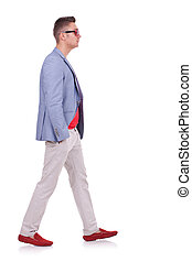 fashion man walking forward