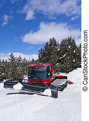 Crawler ratrack near ski-route in mountains Turkey Sarikamis...