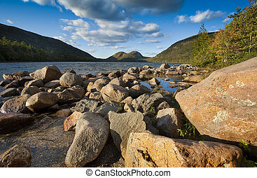 Jordan pond with 2 bubble rocks in background located in...