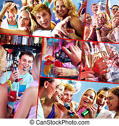 Party in restaurant - Image of several happy friends having...