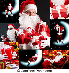 Collage of Santa Claus - Collage of seven images with Santa...