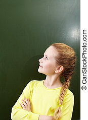 Girl at blackboard