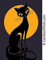 black cat on a background Lunar