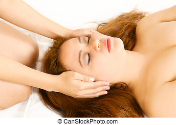 Reiki or massage healing hands - Health spa theme image on...