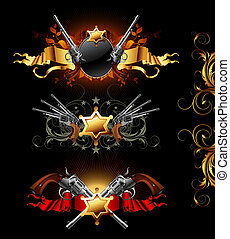set of ornamental golden frames