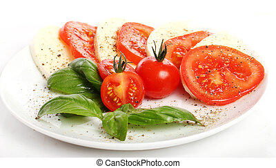 Tomatoes, basil and mozzarella - Fresh and tasty tomatoes,...