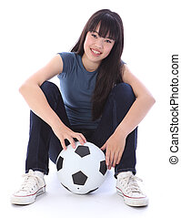 Beautiful teenager Japanese soccer student girl - Portrait...