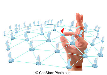 hand point to social network connection