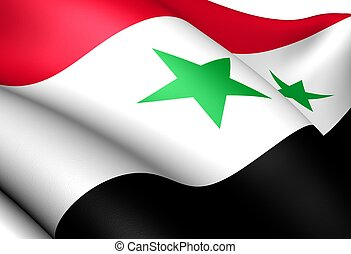 Flag of Syria. Close up.