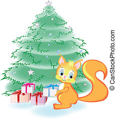 Squirrel has the gifts under the tr