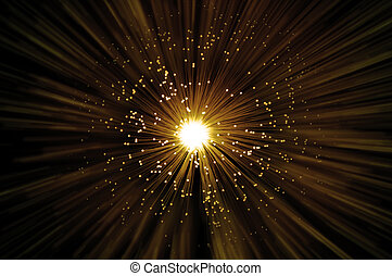 Golden fiber optic abstract - Golden illuminated fiber optic...