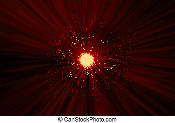 Fiber optic abstract concept - The ends of many illuminated...