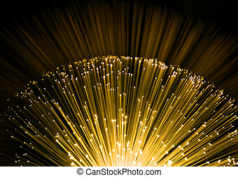 Fiber optic background - Close up on the ends of many...