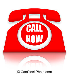 Call Now - Bright red telephone with Call Now inscription...