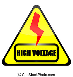 High Voltage sign with red thunder isolated on white...