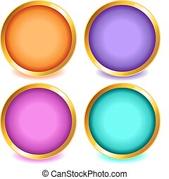 Colorful buttons with gold bevel-set2 - Fun colorful web...