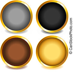 Colorful buttons with gold bevel-set3 - Fun colorful web...