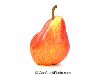 Fresh red pear on a white background, close up