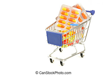 Shopping for drugs - Shopping cart with medecine pills on a...