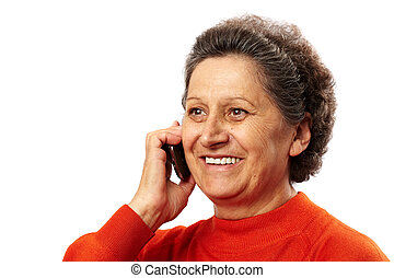 Happy elderly woman speaking on cellphone - Portrait of a...