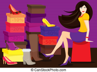 Shoe shop - Woman trying on different shoes and boots in the...