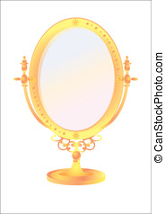 Mirror - Isolated  old-fashioned mirror